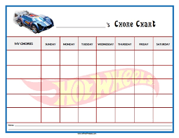 Hot Wheels Chore Chart Free Printable Allfreeprintable Com