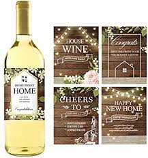 5 Rustic House Warming Presents, New Homeowner Stickers Or Wine Label Gift  Set Ideas, Congrats Home Sweet Home Party, Unique Real Estate Gifts From  Agent ...
