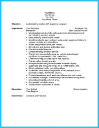 Resume Examples For Bartender Server Bartendending Example And