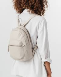 baggu leather backpack stone