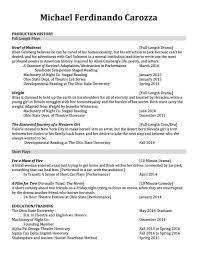 Playwriting Resume