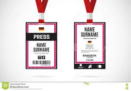 Lanyard Badge Design Press Id Card Set Vector Design Illustration Stock Vector