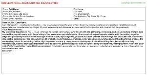 Payroll Administrator Cover Letter Payroll Administrator Job Cover Letter