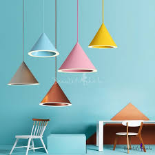 multi color funnel shape pendant lights
