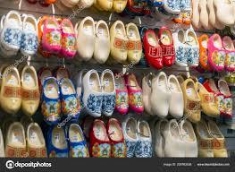 amsterdam netherlands july 2018 klomp dutch wooden shoes window stock photo