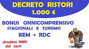 INPS Circolare Per Bonus 1.000 Decreto Ristori onnicomprensivo stagionali e  turismo - YouTube