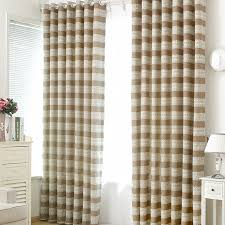 Room Darkening Polyester In Coffee Color Casual Horizontal Striped Curtains