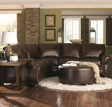 living room ideas with leather sectional. Chocolate Brown Leather Sectional W Round Ottoman Picmia On Living Room Ideas Com With A