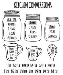 Conversion Chart Gallons To Cups Amazon Com Kitchen Measuring Conversion Chart Decal Baking