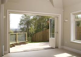 timber bifold doors internal fully open white