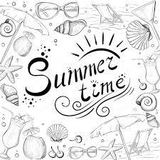 手描き夏の時間のアイコンを設定しますコレクションを旅行します夏の