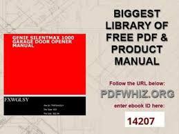 genie garage door opener manualgenie silentmax 1000 garage door opener manual  YouTube