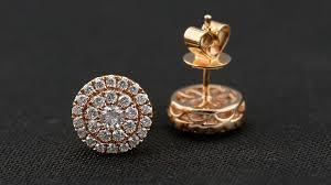 Image Design Jewellery Inc 18k Rose Gold Round Plate Diamond Earrings Kilani