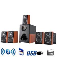 befree sound luxury 5 1 channel surround sound bluetooth speaker system with wood finish accents