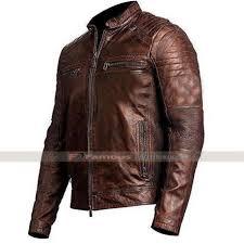 men s vintage cafe racer brown distress leather biker jacket