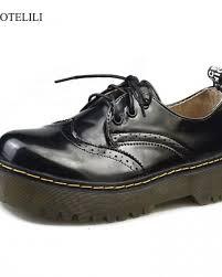 cootelili designer shoes women luxury 2018 brogue flat platform shoes woman 4cm heel pu leather lace up las shoes flats 35 40