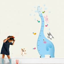 Kids Wall Growth Chart Us 7 81 Cartoon Elephant Height Measure Wall Stickers Cute Growth Chart Kids Wall Decals Home Decor Animal Wallpaper In Wall Stickers From Home