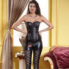whole leather corset with zippers buckles ouc525