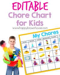 Chart For Kids Editable Chore Chart For Kids