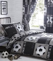 kids boys bedroom bedding duvet quilt cover set football black white grey shoot size double duvet cover 2 pillowcases 11210 p jpg