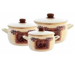 <b>Набор эмалированной посуды</b>. <b>3</b> кастрюли Metrot с рисунком ...