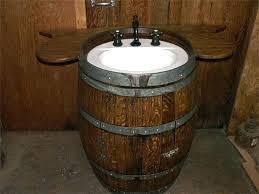barrel sink wine vanity oak bathroom diy
