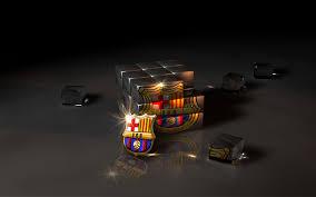 3d cube fc barcelona logo wallpaper high resolution