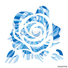 Illustration Of Roses Drawn By Touch Brush Touch Blue Logo Of