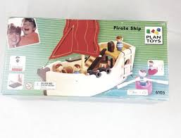 plan toys wooden priate ship 6105 wood play set planship
