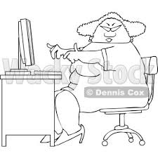desk clipart black and white. lineart clipart of a cartoon black and white chubby african american woman wearing glasses working at computer desk