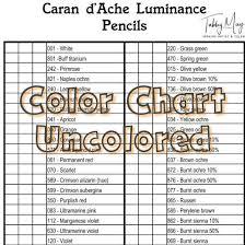 Caran Dache Luminance Color Chart 76 Colors