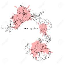 Wild Roses Drawn By Ink On White Background With Pastel Pink