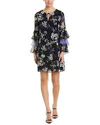 Vince Camuto Womens Printed Chiffon Float Dress With Tiered