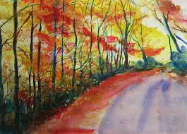abstract landscape painting fall abstract by lizzy forrester