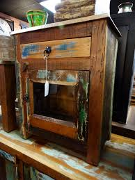 nightstand end table colorful reclaimed wood with glass door furniture s denver