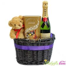 premium gift basket moet chandon bear lindt chocolates