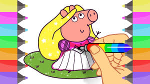How To Draw Peppa Pig As Disney Princess Coloring Pages For Girls