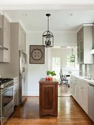small kitchen island. Example Of A Transitional Galley Kitchen Design In Atlanta With An Undermount Sink, Recessed- Small Island N
