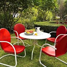 crosley furniture griffith 5 piece metal patio dining set in red