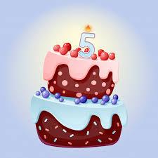 <b>Cute cartoon 5</b> year birthday festive cake with candle number <b>five</b> ...