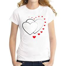 Heart Shape Design T Shirts Womens Tee 2018 New Arrivals Womens Heart Shape Design Printed T Shirt Fashion Design Lady Casual Slim Tops Novelty Tee Cheap T Shirts For Sale