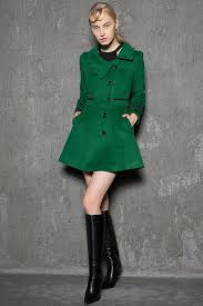 green short jacket modern warm wool winter coat mini length with asymmetrical on closure handmade