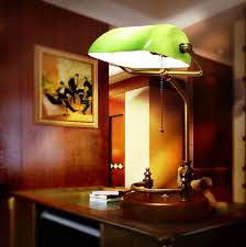 2018 whole bankers desk lamp table light green glass cover birch wood base from rosaling 174 7 dhgate com