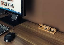 wood desk cable management