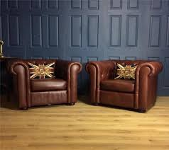 home and furniture chesterfield. Pair Leather Club Chairs Tan Queen Anne Cigar Antique Deco Chesterfield Brown In Home, Furniture Home And