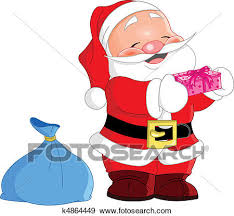 cute santa claus drawing. Delighful Drawing Cute Santa Claus Holding A Gift In Drawing