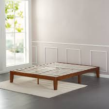 cherry finish solid wooden platform bed  zinus