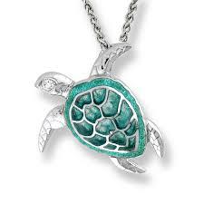 sea turtle necklace green diamonds stock nn0170wb