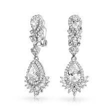 bling jewelry teardrop gatsby inspired cz chandelier clip on dangle earrings
