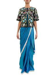 Blue Green Online 3 Piece Ready Made Saree With Jacket In Bluish Green